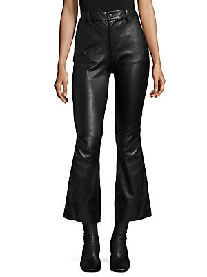 Helmut Lang. Leather Crop Flared Pants