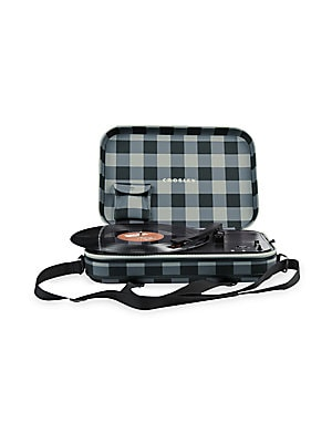 Image of Don't stop the music, bring it with you! The Messenger turns analog music into travelouge music with its lightweight body housed in a sturdy shoulder pack. With battery-powered three-speed spinning and auxillary input, your music can go the distance. Wann