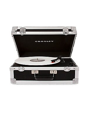 Image of Designed in a robust mobile roadie unit look, this portable turntable is the convenient accessory to carry along with your band on the go. It has a three-speed record player along with RCA wired output panel and Bluetooth connectivity to blast sound throu