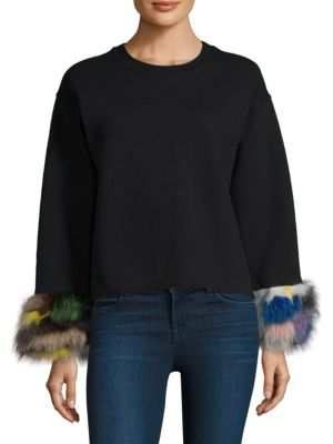 Fox Fur-Cuff Sweatshirt by Harvey Faircloth