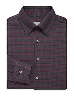 Image of Allover pattern finished this cotton dress shirt Spread collar Long sleeves Buttoned barrel cuffs Button front Cotton Machine wash Made in Italy. Men Luxury Coll - Canali Clothing > Saks Fifth Avenue. Canali. Color: Green Purple. Size: XXL.