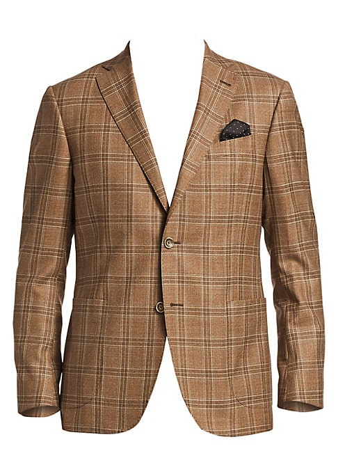Image of From the Saks IT LIST. THE JACKET. The wear everywhere layer that instantly dresses you up. EXCLUSIVELY OURS. Patterned wool sportcoat for any occasion attire. Notch lapels with buttonhole. Long sleeves. Buttoned cuffs. Button front. Chest welt pocket. Si