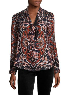 Gisele Neck Tie Silk Blouse by L'AGENCE