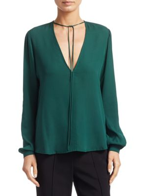 Kirk Long Sleeve Silk V-Neck Blouse by A.L.C.
