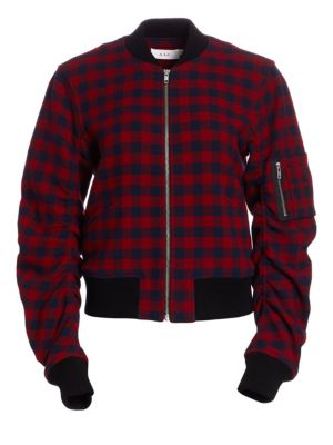 A.l.c Wools Andrew Gingham Wool Bomber Jacket