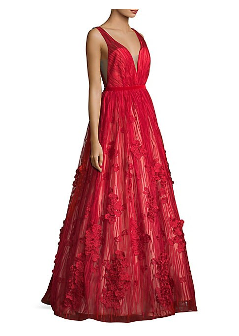 """Image of Alluring weave gown featuring floral allover. Deep V-neck and back. Sleeveless. Concealed back zip. About 64"""" from shoulder to hem. Polyester. Dry clean. Imported. Model shown is 5'10"""" (177cm) wearing US size 4."""