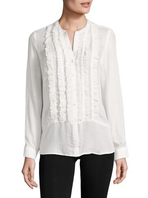 Jeronioma Ruffle Front Blouse by Joie