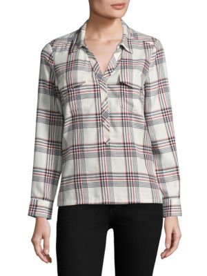 Antolina Plaid Cotton Collared Shirt by Joie
