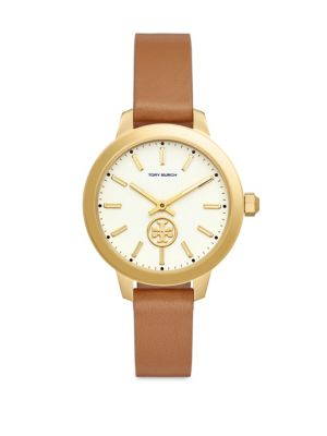 Collins Goldtone Leather Two Hand Watch by Tory Burch