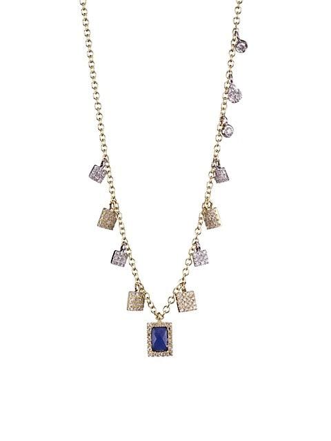 Blue Sapphire Charm & Diamond, Yellow Gold Necklace