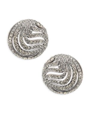 """Image of .EXCLUSIVELY AT SAKS FIFTH AVENUE. Vintage-style button stud with swirling crystal layers. Crystal. Black rhodium-plated brass. Diameter, 0.75"""".Post back. Imported."""