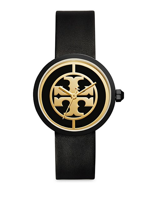 Reva Goldtone Stainless Steel & Leather Strap Watch