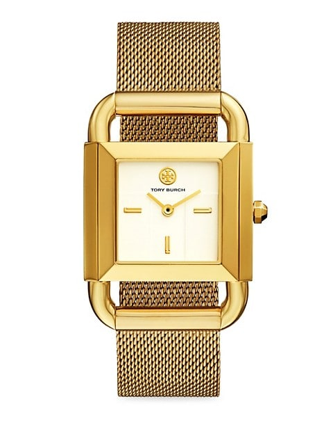Phipps Goldtone Stainless Steel & Mesh Bracelet Watch