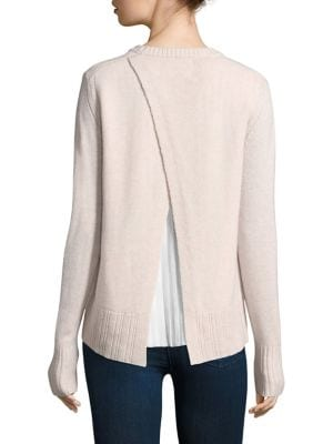 """Image of Cashmere-blend top with woven pleat insert at back. Crewneck. Long sleeves. Rib-knit cuffs and hem. Front, about, 23"""" from shoulder to hem. Back, about 26"""" from shoulder to hem. Cashmere/wool/polyester. Dry clean. Imported. Model shown is 5'10"""" (177cm) we"""