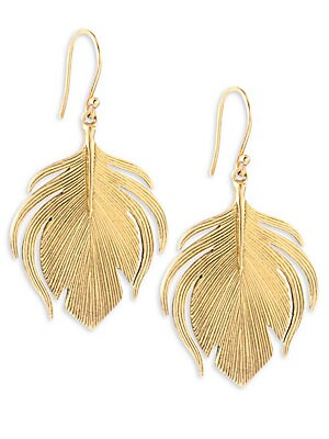 """Image of From the Fauna Collection 14K yellow gold Drop, about 1.5"""" Diameter, about 0.88"""" Ear wire Made in USA. Fashion Jewelry - Modern Jewelry Designers. Annette Ferdinandsen. Color: Yellow Gold."""