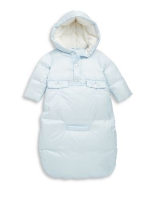 Image of Part of Ralph Lauren's exclusive Baby Collection, this 650-fill-power down set offers two easy pieces to keep him warm all season long. The hooded button-front jacket can be worn on its own or converted into a bunting by attaching the cozy bag. Jacket. Si