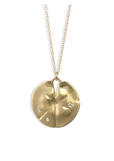 """Image of From the Flora Collection.14K yellow gold necklace accented with diamonds. Diamonds, 0.03 tcw.14K yellow gold. Length, 18"""".Pendant width, 1"""".Hook clasp. Made in USA."""