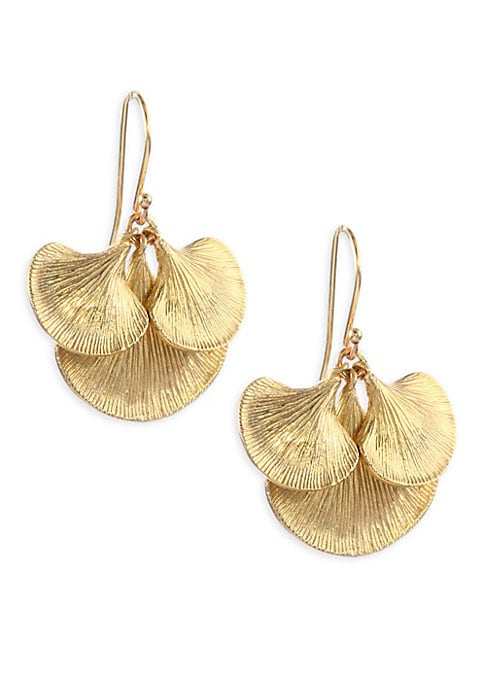 """Image of Cluster of textured petals creates a sophisticated silhouette.14K yellow gold. Drop, 1"""".Ear wire. Made in USA."""
