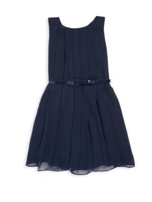 Girls Pleated Shift Dress with Belt