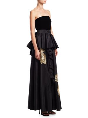 """Image of Ruffled silk gown with metallic embroidery. Straight across neckline. Strapless. Self-tie closure at back. About 60"""" from top to hem. Silk. Dry clean. Imported. Model shown is 5'10"""" (177cm) wearing US size 4."""