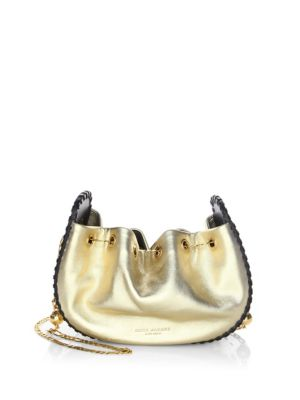 """Image of Woven through crossbody bag in golden chain strap. Crossbody chain strap, 23"""" drop. Gold hardware. One inside slip pocket.8""""W x 6""""H x 3""""D.Metallic leather. Imported."""