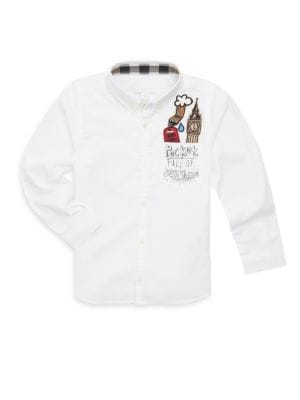 Little Boys  Boys Long Sleeve Embroidered Cotton Shirt