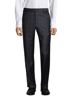 """Image of Wool trousers with allover tonal plaid pattern. Belt loops. Zip fly with button closure. Side slash pockets. Back buttoned welt pockets. Regular-fit. Rise, about 11"""".Inseam, about 35"""".Leg opening, about 16"""".Wool. Dry clean. Made in Italy."""