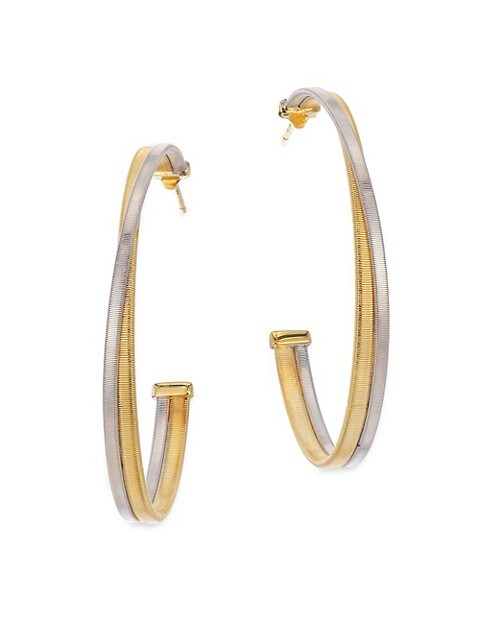 "Masai 18K White & Yellow Gold Large Hoop Earrings/1.75"""