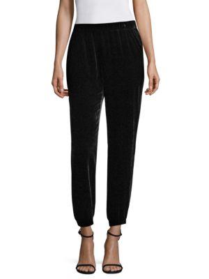 Velvet Ankle-Length Leggings, Available In Regular & Petite Sizes in Black