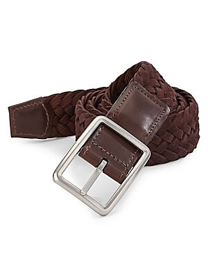 "Image of ONLY AT SAKS Braided suede belt with reversible buckle feature Pin buckle closure with reversible feature Width, about 1.4"" Leather/rayon Wipe clean Made in USA. Mens Pvt Brands - Sfamc Accessories. Saks Fifth Avenue. Color: Brown. Size: 46."