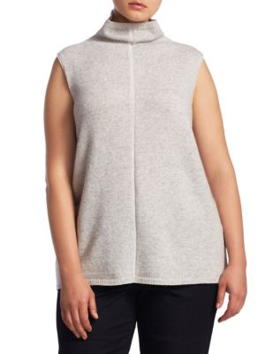 """Image of Cashmere sweater with rib-knit hem and neck. Mockneck. Sleeveless. About 25"""" from shoulder to hem. Cashmere. Dry clean. Imported."""