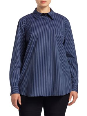 "Image of Cotton-blend blouse featuring a striped design. Point collar. Long sleeves. Buttoned barrel cuffs. Button front. Lined. About 29"" from shoulder to hem. Cotton/nylon/spandex. Dry clean. Imported."