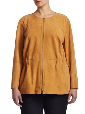 """Image of Suede jacket with a partially elasticized waist. Roundneck. Long sleeves. Split cuffs. Exposed front zip. Partially elasticized waist. Seam pockets. Cotton/silk lining. About 25"""" from shoulder to hem. Lamb suede. Trim: Polyester/viscose. Dry clean. Import"""