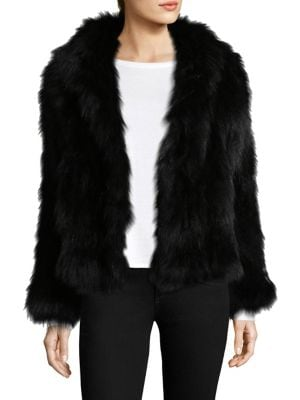 """Image of Luxurious fox fur shapes short hooded jacket. Attached hood. Long sleeves. Concealed hook-and-eye closure. About 21"""" from shoulder to hem. Fur type: Dyed fox. Fur origin: China. Dry clean by fur specialist. Imported."""