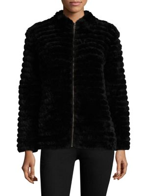"""Image of Dyed rabbit fur elevates this everyday jacket. Mockneck. Long sleeves. Zip closure. About 25"""" from shoulder to hem. Fur type: Dyed rabbit. Fur origin: China. Dry clean by fur specialist. Imported. Model shown is 5'10"""" (177cm) and wearing US size Small."""