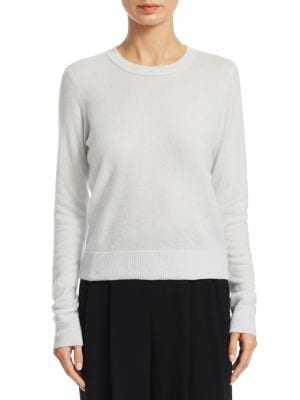 "Image of Cashmere dropped shoulders pullover with rib-knit trim. Crewneck. Long sleeves. Pullover style. About 26"" from shoulder to hem. Cashmere. Dry clean. Imported. Model shown is 5'10"" (177cm) wearing size Small."