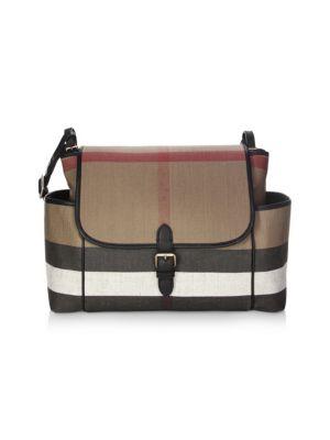 Flap-Top Check Canvas Diaper Bag in Black