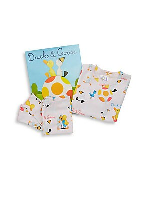 Image of All set for gift-giving! Join the adventure of duck and goose with this set including matching pajamas and beloved story book for bedtime. Cotton. Machine wash. Made in USA. TOP Roundneck Long sleeves Pullover style PANTS Elasticized waist Pull-on style B