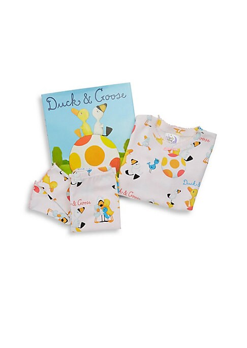 Image of All set for gift-giving! Join the adventure of duck and goose with this set including matching pajamas and beloved story book for bedtime. Cotton. Machine wash. Made in USA. TOP. Roundneck. Long sleeves. Pullover style. PANTS. Elasticized waist. Pull-on s