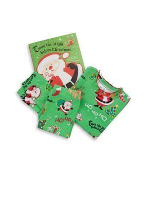 Toddlers  Little Girls ThreePiece Twas the Night Cotton Pajamas  Book Set