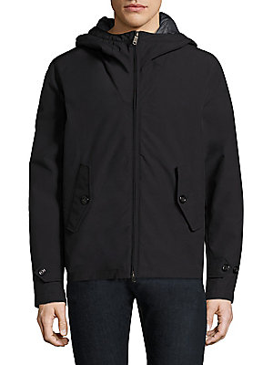 Image of Cotton-blend anorak featuring back storm flap Attached hood Long sleeves Adjustable button tab at cuffs Concealed front zip Front button-flap pockets Back storm flap Cotton/polyester Machine wash Imported. Men Adv Contemp - Contemporary Outerwear. Baracut