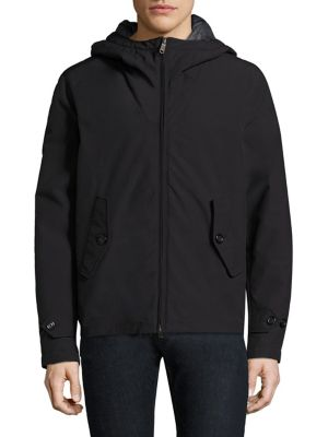 Image of Cotton-blend anorak featuring back storm flap. Attached hood. Long sleeves. Adjustable button tab at cuffs. Concealed front zip. Front button-flap pockets. Back storm flap. Cotton/polyester. Machine wash. Imported.