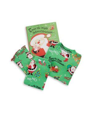 Toddlers  Little Boys ThreePiece Twas the Night Cotton Pajamas  Book Set
