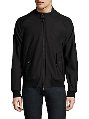 Image of Raglan sleeve jacket accented with back storm flap Stand collar with button closure Long raglan sleeves Rib-knit cuffs and hem Concealed front zip Front button flap pockets Back storm flap Polyester/elastane Machine wash Made in Italy. Men Adv Contemp - C