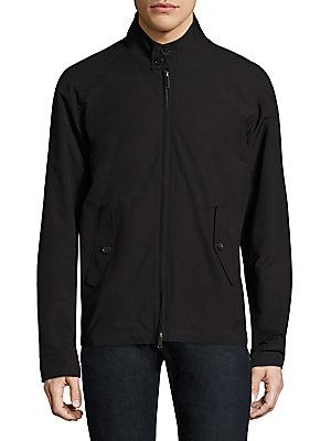 Image of Cotton-blend jacket featuring back storm flap Stand collar with button closure Long raglan sleeves Buttoned barrel cuffs Concealed front zip Front button flap pockets Buckle tab at sides Back storm flap Cotton/polyester Machine wash Made in UK. Men Adv Co