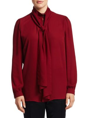 High Neck Crepe Blouse by Basler, Plus Size