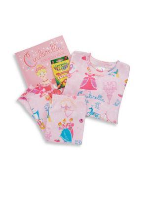 Toddlers  Little Girls Cinderella Pajama  Coloring Set