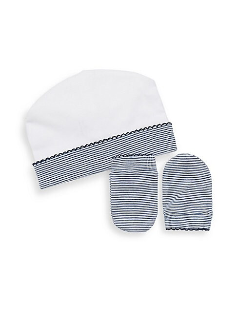 Image of Striped hat and mittens set crafted in soft cotton. Pima cotton. Machine wash. Imported. HAT. Folded brim. Picot trim. MITTENS. Banded cuffs. Picot trim.