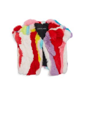 Image of Cropped vest crafted from rainbow-coloured rabbit fur.V-neck. Cap sleeves. Front fastenining. Lined. Fur type: Dyed rabbit fur. Fur origin: China. Dry clean by fur specialist. Imported.