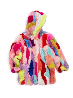 Toddler Little Girls  Girls Rex MultiColor Rabbit Fur Jacket